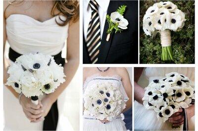10 inspiracji na bukiet ślubny pasujący do sukni z czarnymi dodatkami