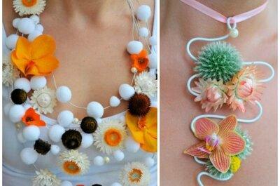 Modna biżuteria z żywych kwiatów. Propozycje dla panny młodej i gości.