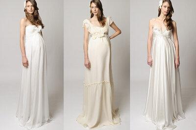 Opções de vestidos para noivas grávidas