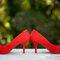 O sapato colorido da noiva. Foto: Anderson Marcello