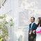Poucos segundos antes de começar a cerimônia: noiva e seu pai..