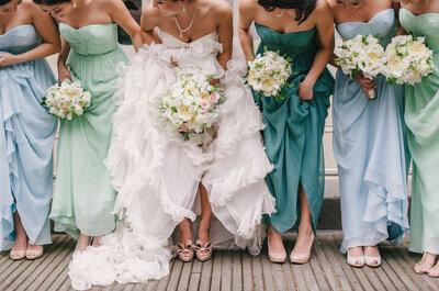 Las damas de boda ya no van uniformadas y estos vestidos con diseños desiguales lo comprueban