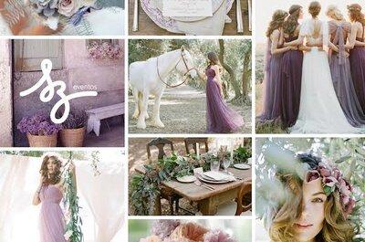 De púrpura a lila: Un ambiente sutil y etéreo en la decoración de tu boda