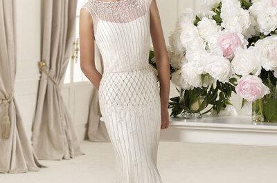 Vestidos de novia con escote ilusión Pronovias