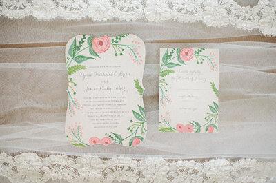 Ausgefallene Einladungskarten für Ihre Hochzeit 2015/2016: Finden Sie Ihre Lieblingspapeterie!