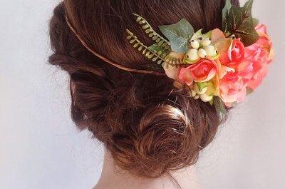 5 peinados de novia con flores para una boda en primavera: ¿Lista para verte divina?