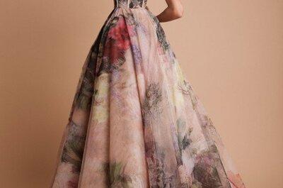 7 vestidos de novia con hermosos estampados de flores: La naturaleza llega hasta el altar