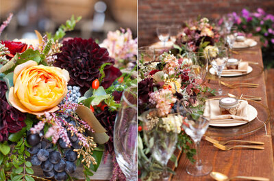 Inspiración: decoración de boda en ciruela y dorado