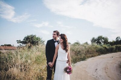Azul, amarillo y melocotón: la boda de Cris y Edi