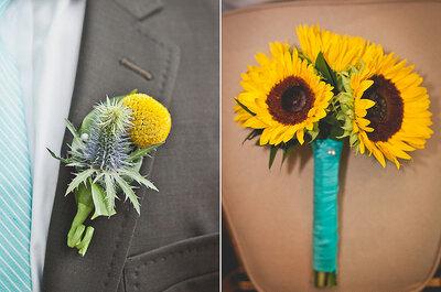 Słoneczniki w bukiecie i dekoracjach ślubnych
