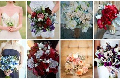 Ramos de novia con flores de colores para el invierno
