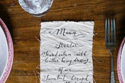 Los 50 menús impresos más originales para la celebración de tu boda. ¡Te costará decidirte por uno!