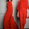 Vestido de fiesta 2014 largo en color ojo intenso con detalles de transparencias y conjunto de pantalón y blusa en rojo para boda