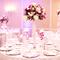 Centros de mesa para boda en color morado y rosa