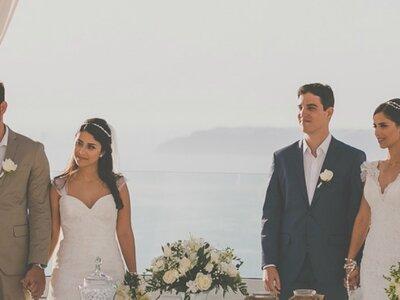 Michelle & Eutímio e Fabiane & Etienne: MARAVILHOSO destination wedding duplo na Grécia!
