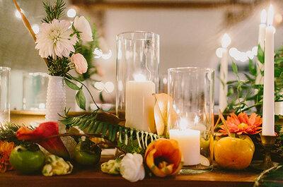 Majestuosos centros de mesas con grandes arreglos florales