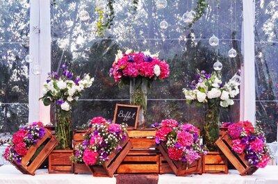 Inspiradora decoración de matrimonio con hortensias