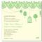 Invitación de boda vintage con fondo en color crema e ilustraciones en color verde esmeralda sutil
