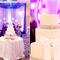 Pastel de boda. Decoración de boda en morado y rosa.
