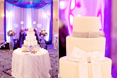 Decoración de boda en morado y rosa