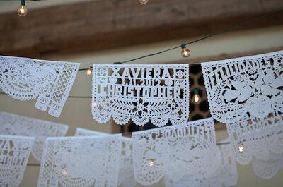 El toque mexican chic: Decoración de boda con papel picado
