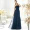 vestido strapless corte princesa en color marino para damas de boda
