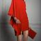 Vestido de fiesta 2014 en color rojo con mangas holgadas y detalles asimétricos
