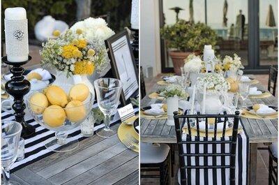 Des rayures pour une décoration de mariage sophistiquée au thème marin !