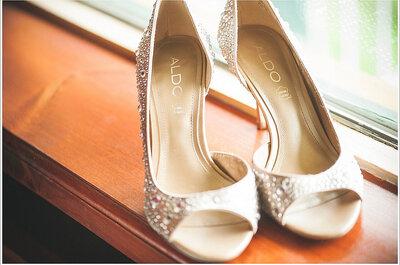Glamour con brillo y color en calzado para novias