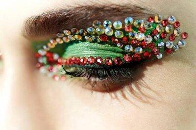 Augen-Make-Up mit Strasssteinchen für Hochzeitsgäste