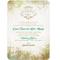 Invitación de boda vintage decorada con colores verde, gama de tonos tierra y color azul en las letras
