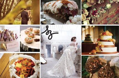 Collage de inspiración para decorar una boda en otoño