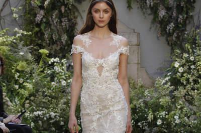 Opta por un vestido de novia con transparencias 2017. ¡Estarás radiante con el efecto tatuaje!