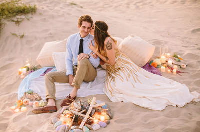 Un toque bohemio chic para una Real Wedding en la playa