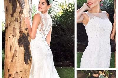 Los mejores vestidos de novia escote ilusión 2017. ¡Encuentra el diseño de tus sueños!