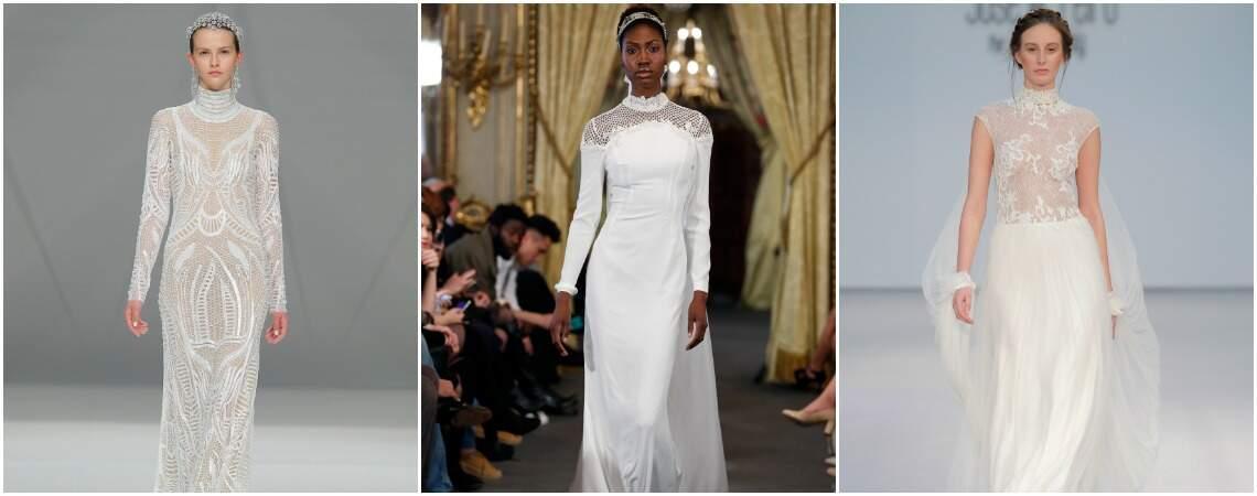 Abiti da sposa a collo alto 2017: lusso d'altri tempi per spose di nuova generazione