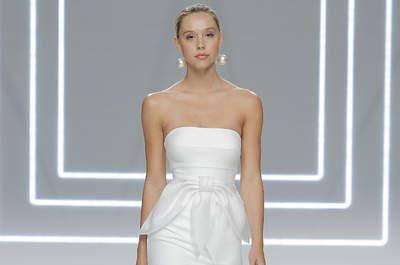 Vestidos de noiva Rosa Clará 2017: simetrias e contrastes únicos no lançamento do Barcelona Bridal Fashion Week 2017