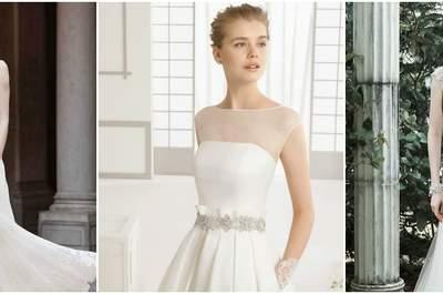 Choose your 2016 Illusional neckline dream wedding dress
