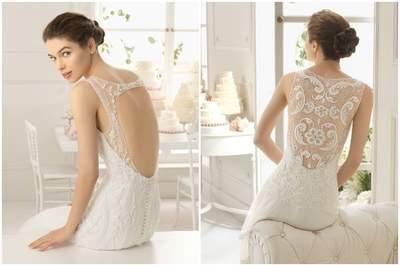 Glamour e elegância para a noiva com os decotes das costas da Aire Barcelona 2015