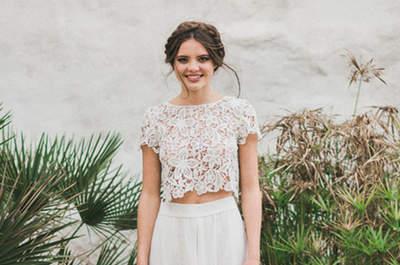Espectaculares vestidos de novia de dos piezas 2017. ¡Arrasa con estas propuestas!