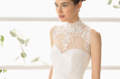 Vestidos de novia con cuello cisne 2015: romanticismo etéreo