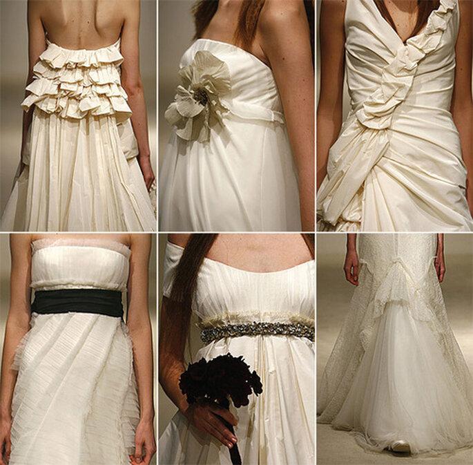 Un collage con los detalles de los vestidos de novia de Vera Wang