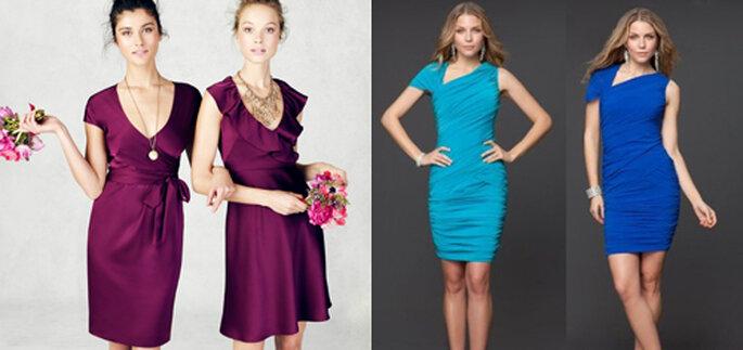 A sinistra, ancora due modelli Bridesmaid by J. Crew (foto: J. Crew); a destra abiti by Rami Kashou per Bebe, foto: Rami Kashou
