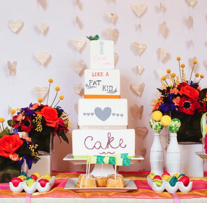 Pasteles de boda multicolor para 2014 - Foto My Heart Skipped