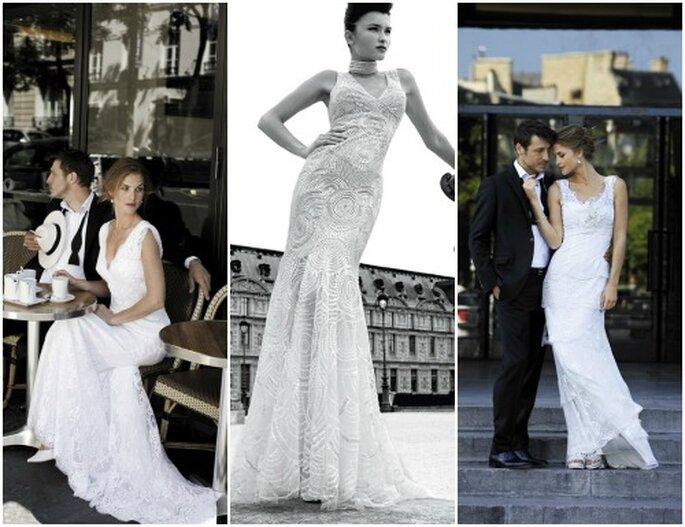 """Tre proposte eleganti della linea """"haute couture"""" denominata """"Le Parisienne"""". Cymbeline Collezione Sposa 2013. Foto: www.cymbeline.com"""