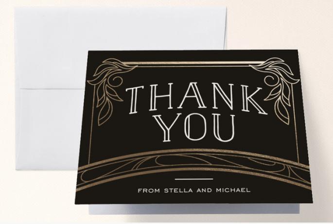 Tarjetas de agradecimiento para boda estilo art decó - Foto Minted