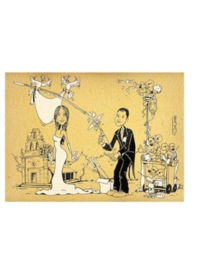 Retrato de los novios - Caricaturiza