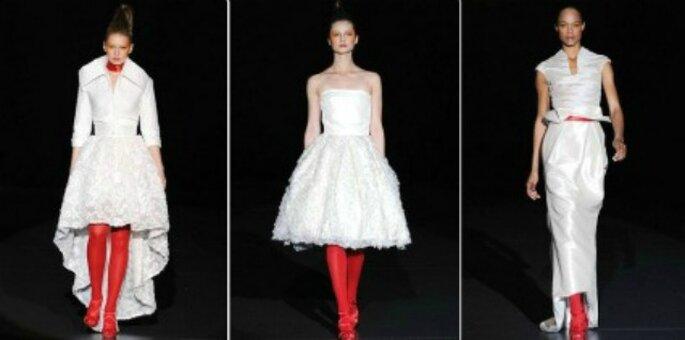 Vestidos de novia combinados con rojo de Miguel Suay.  Foto: Miguel Suay