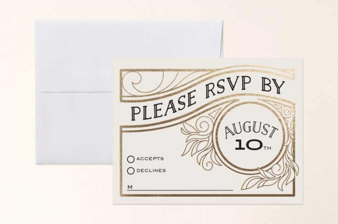 Invitaciones de boda estilo art decó - Foto Minted
