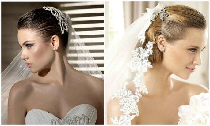Los velos combinados con accesorios brillantes están entre los más solicitados.Fotos: www.carnevalispose.com - Pronovias